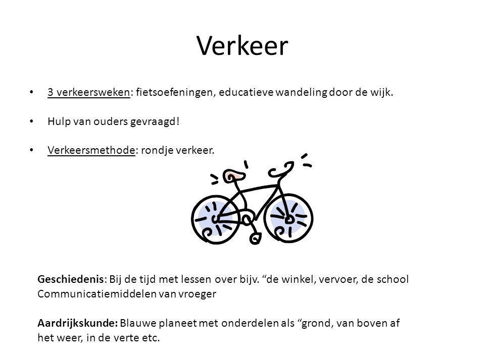 Verkeer 3 verkeersweken: fietsoefeningen, educatieve wandeling door de wijk. Hulp van ouders gevraagd!