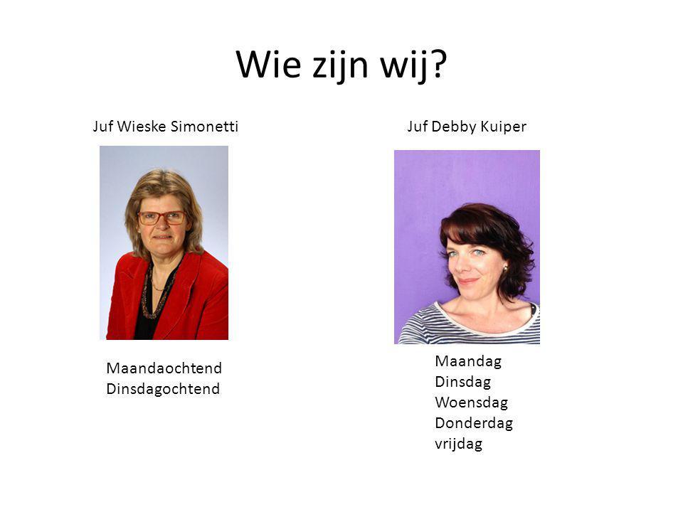 Wie zijn wij Juf Wieske Simonetti Juf Debby Kuiper Maandag Dinsdag