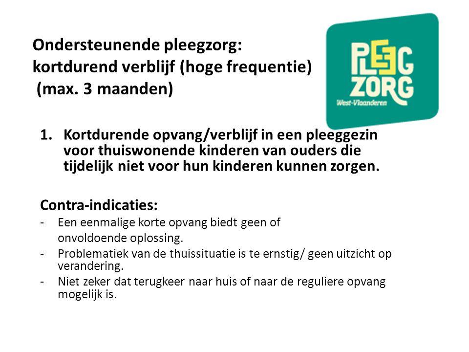 Ondersteunende pleegzorg: kortdurend verblijf (hoge frequentie) (max