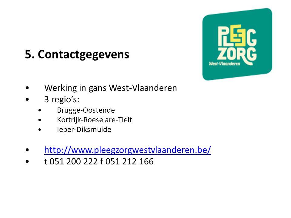 5. Contactgegevens Werking in gans West-Vlaanderen 3 regio's: