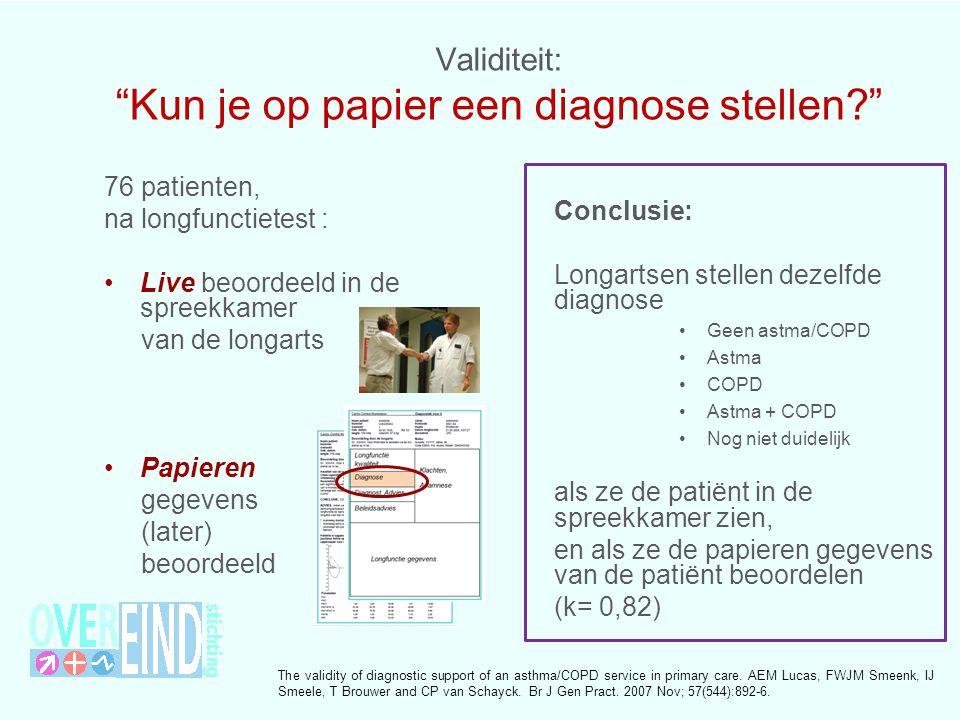 Validiteit: Kun je op papier een diagnose stellen