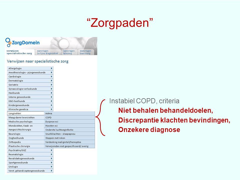 Zorgpaden Instabiel COPD, criteria Niet behalen behandeldoelen, Discrepantie klachten bevindingen, Onzekere diagnose