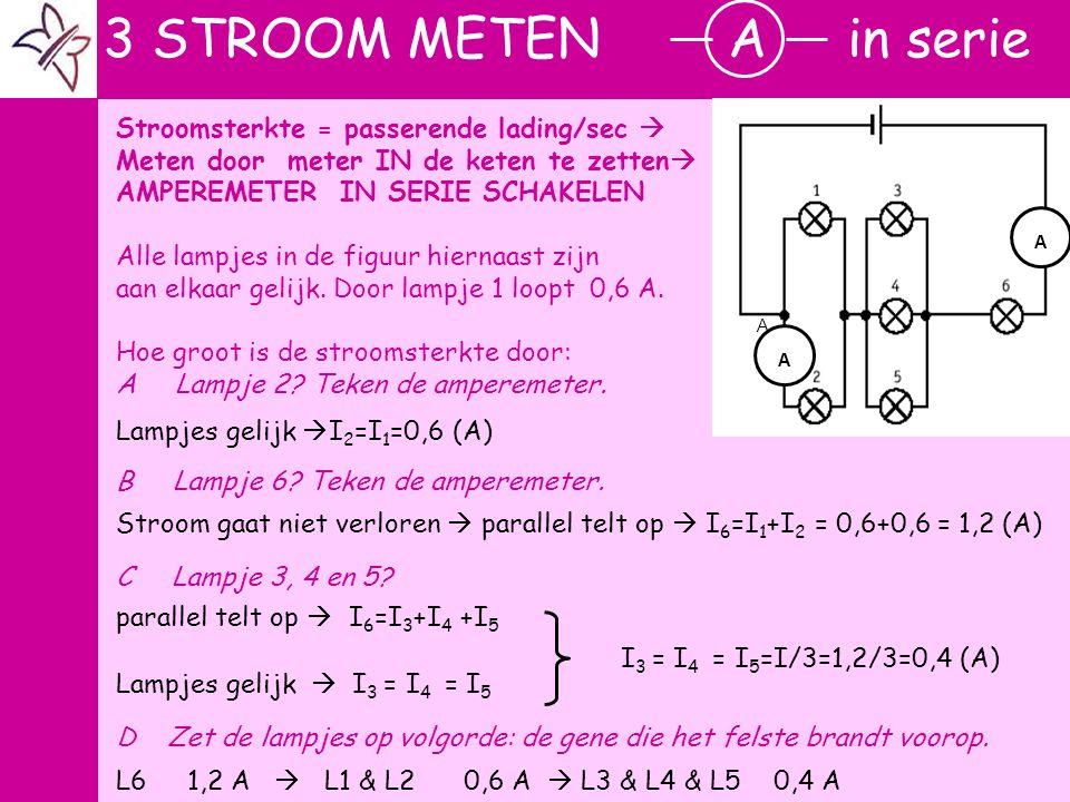 r 3 STROOM METEN A in serie Stroomsterkte = passerende lading/sec 
