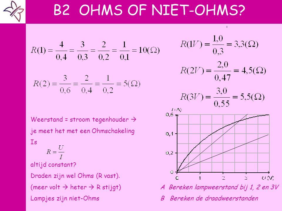 B2 OHMS OF NIET-OHMS A A V V Weerstand = stroom tegenhouder 