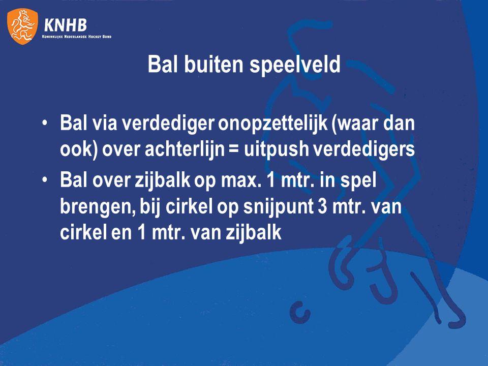 Bal buiten speelveld Bal via verdediger onopzettelijk (waar dan ook) over achterlijn = uitpush verdedigers.