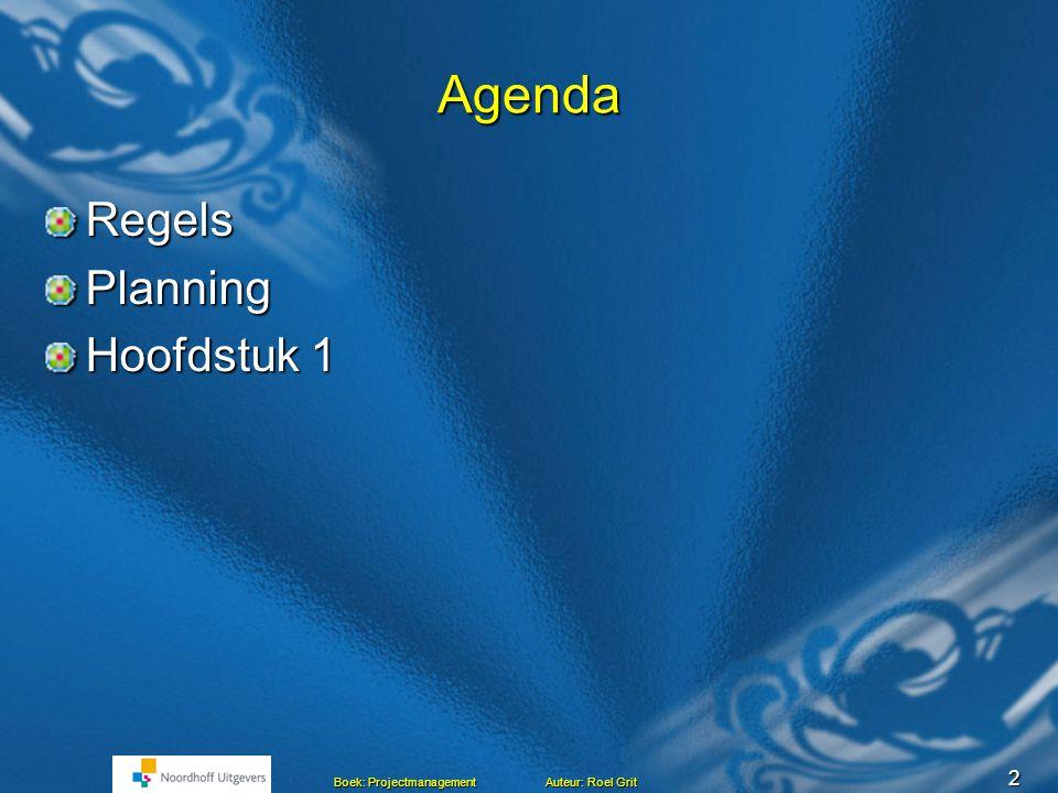 Agenda Regels Planning Hoofdstuk 1