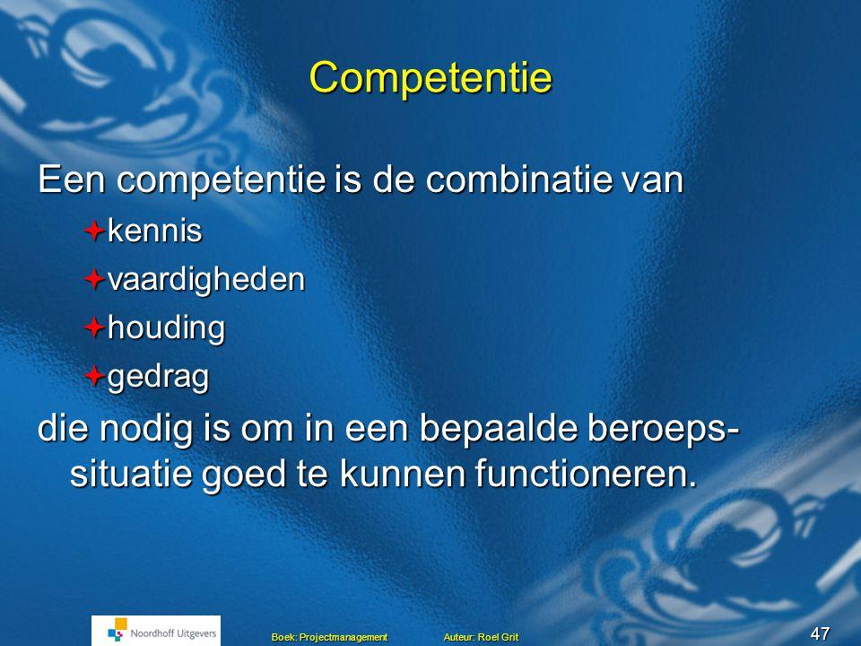 Competentie Een competentie is de combinatie van