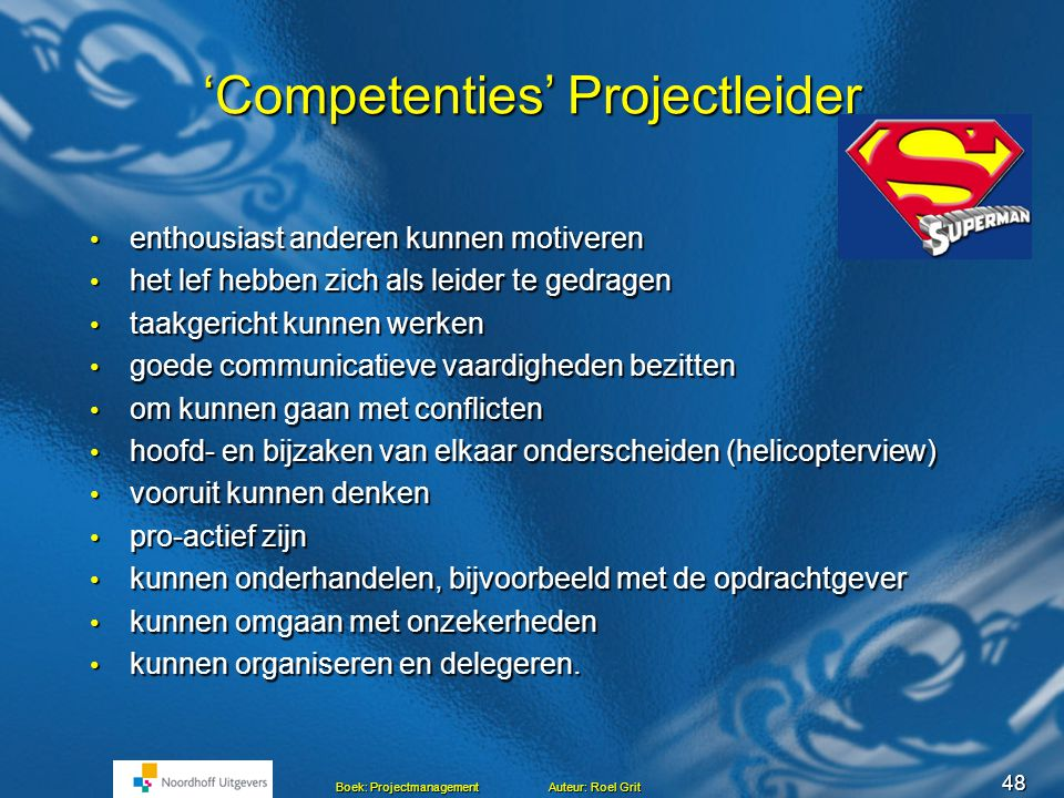 'Competenties' Projectleider