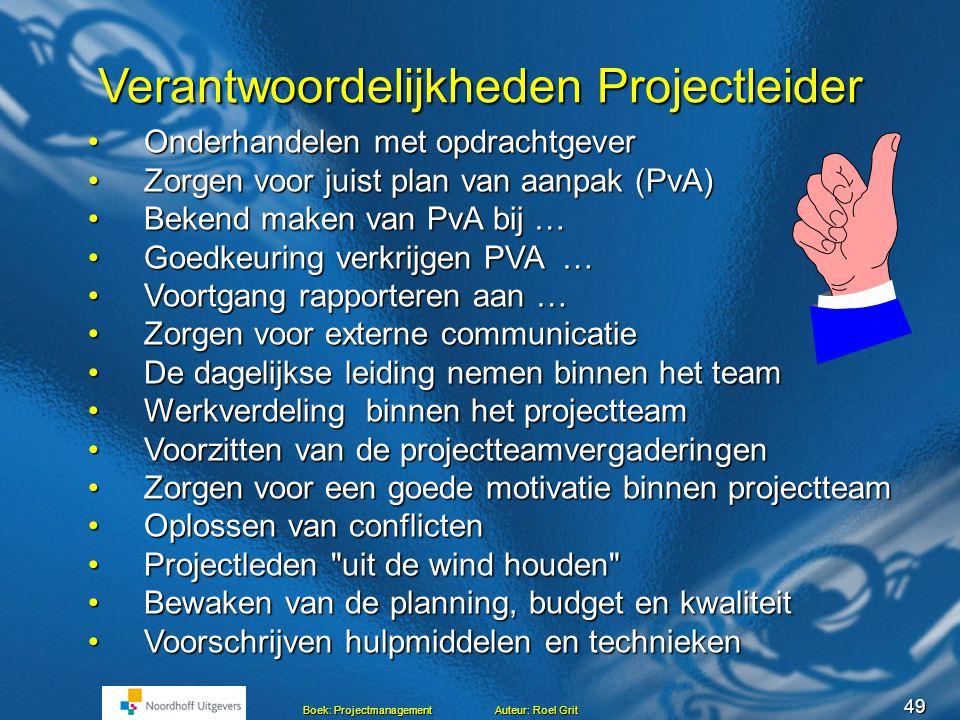 Verantwoordelijkheden Projectleider