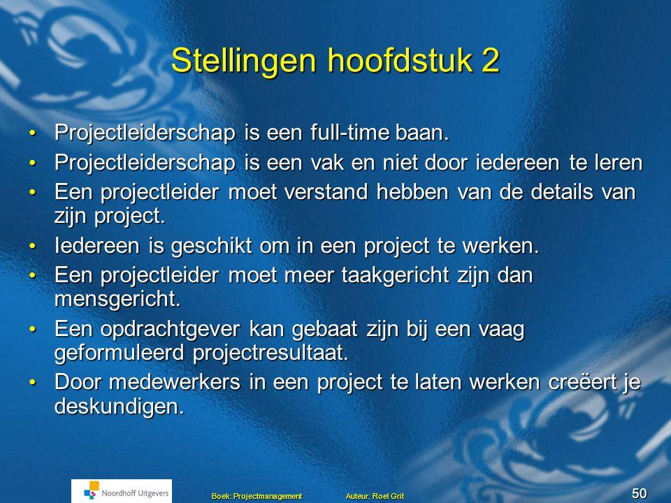 Stellingen hoofdstuk 2 Projectleiderschap is een full-time baan.