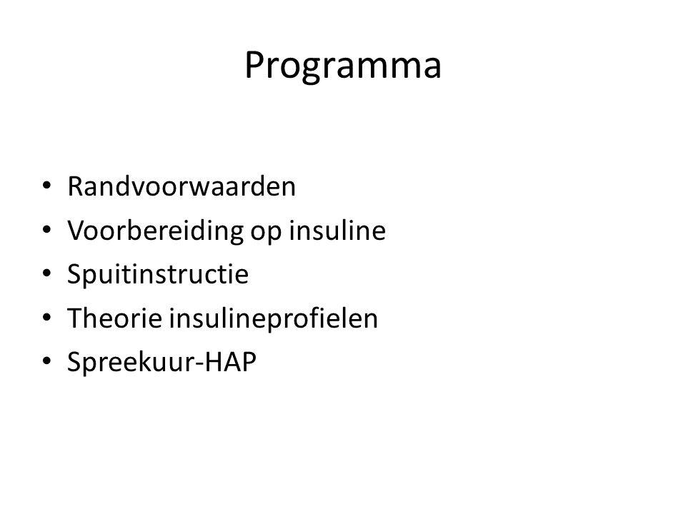 Programma Randvoorwaarden Voorbereiding op insuline Spuitinstructie