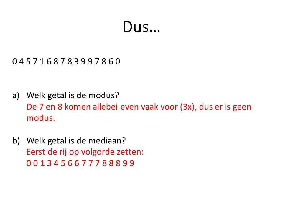 Dus… 0 4 5 7 1 6 8 7 8 3 9 9 7 8 6 0 Welk getal is de modus