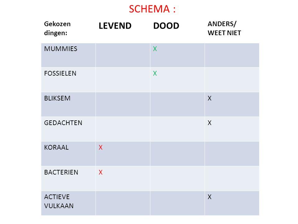 SCHEMA : LEVEND DOOD Gekozen dingen: ANDERS/ WEET NIET MUMMIES X