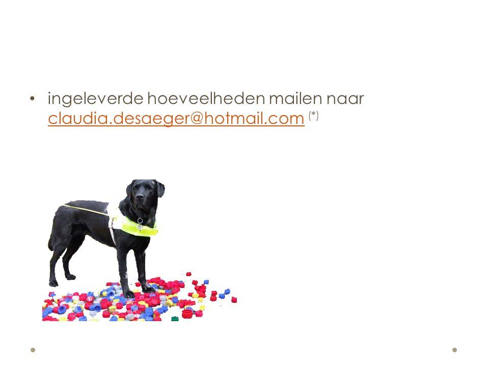 ingeleverde hoeveelheden mailen naar claudia.desaeger@hotmail.com (*)