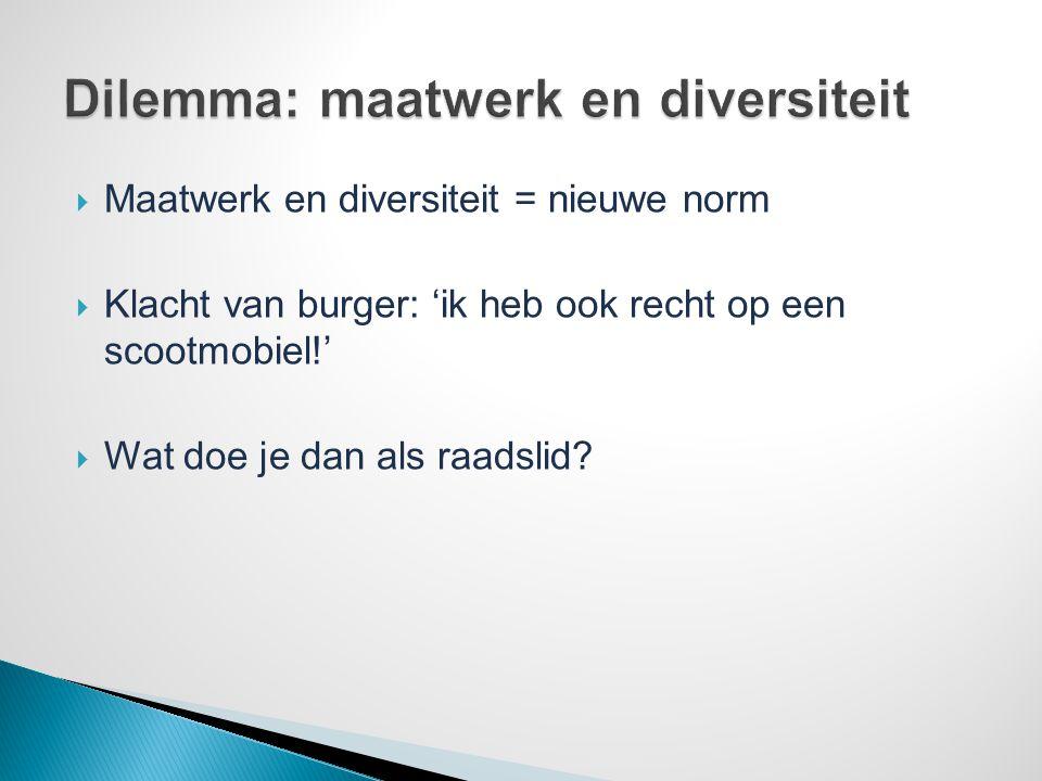 Dilemma: maatwerk en diversiteit