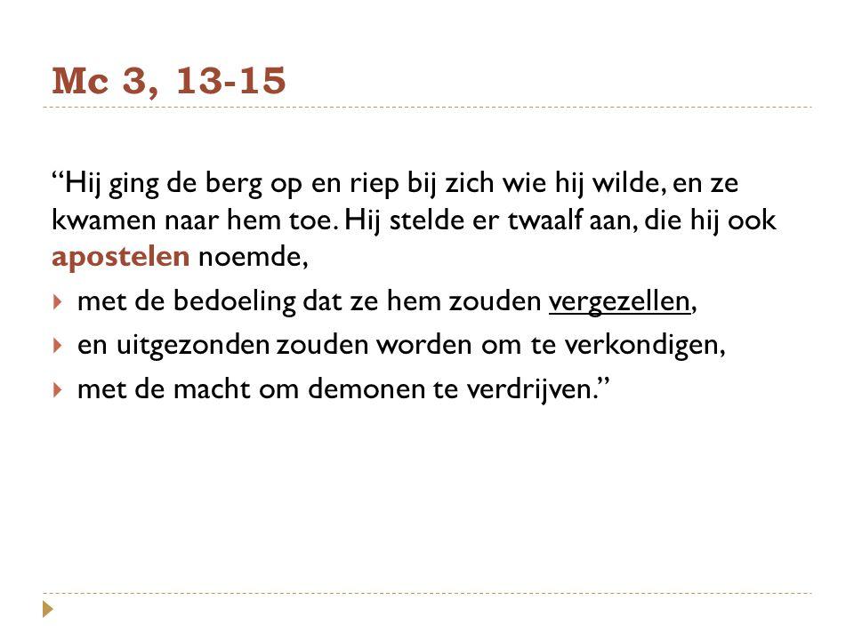 Mc 3, 13-15 Hij ging de berg op en riep bij zich wie hij wilde, en ze kwamen naar hem toe. Hij stelde er twaalf aan, die hij ook apostelen noemde,