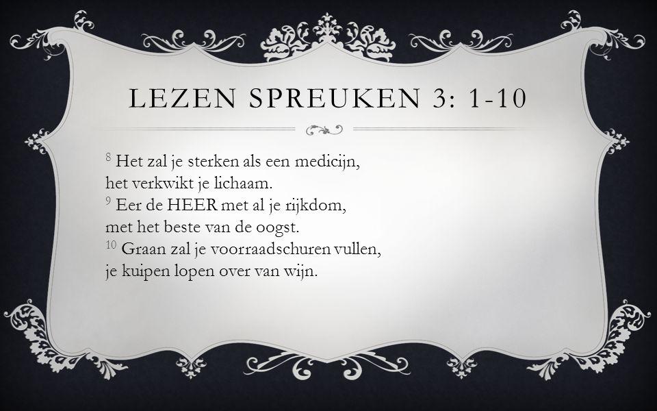 Lezen Spreuken 3: 1-10