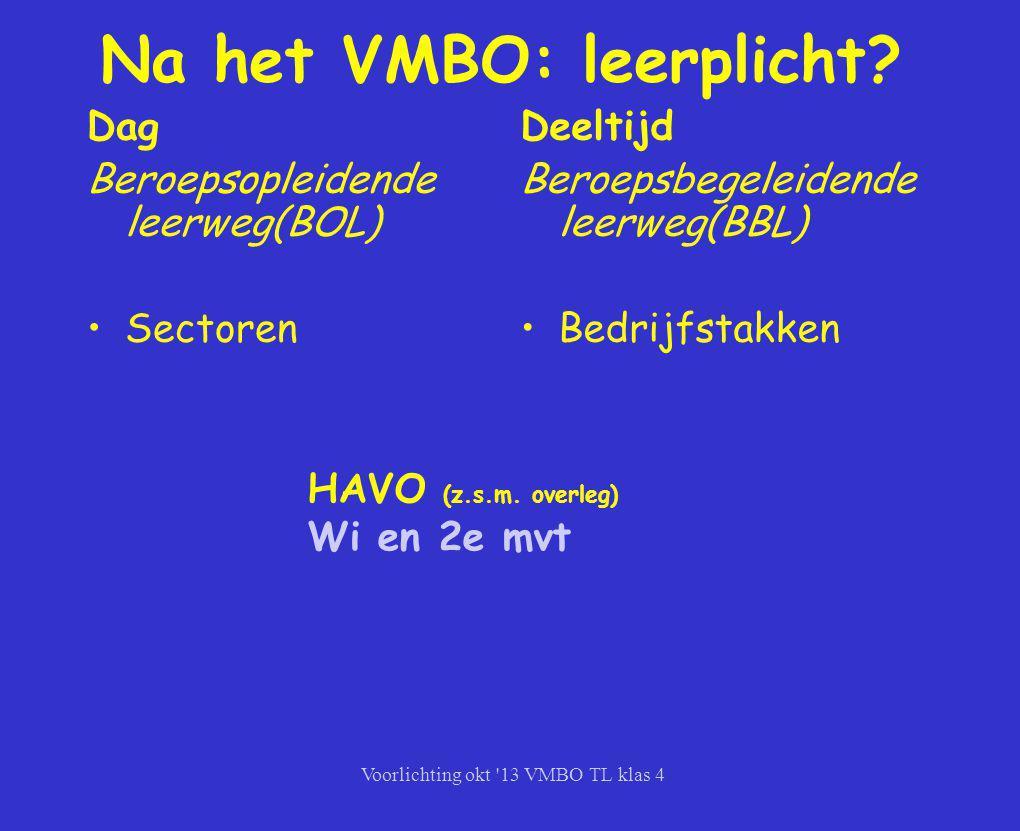 Na het VMBO: leerplicht