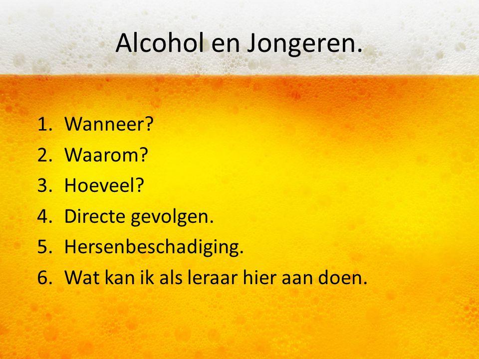 Alcohol en Jongeren. Wanneer Waarom Hoeveel Directe gevolgen.