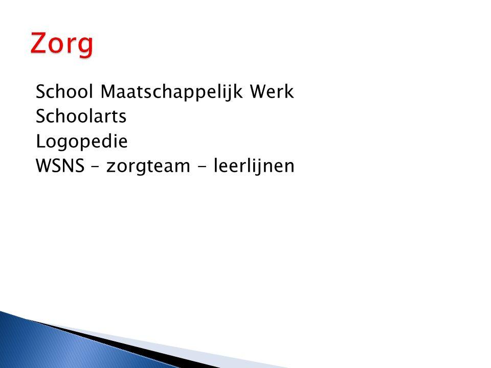 Zorg School Maatschappelijk Werk Schoolarts Logopedie WSNS – zorgteam - leerlijnen