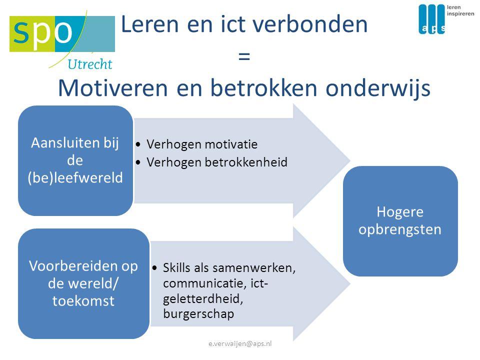 Leren en ict verbonden = Motiveren en betrokken onderwijs