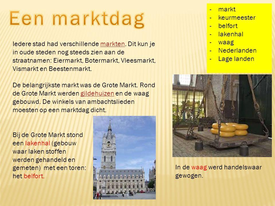 Een marktdag markt keurmeester belfort lakenhal waag Nederlanden