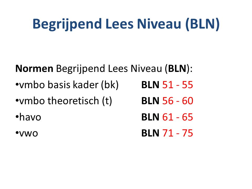 Begrijpend Lees Niveau (BLN)