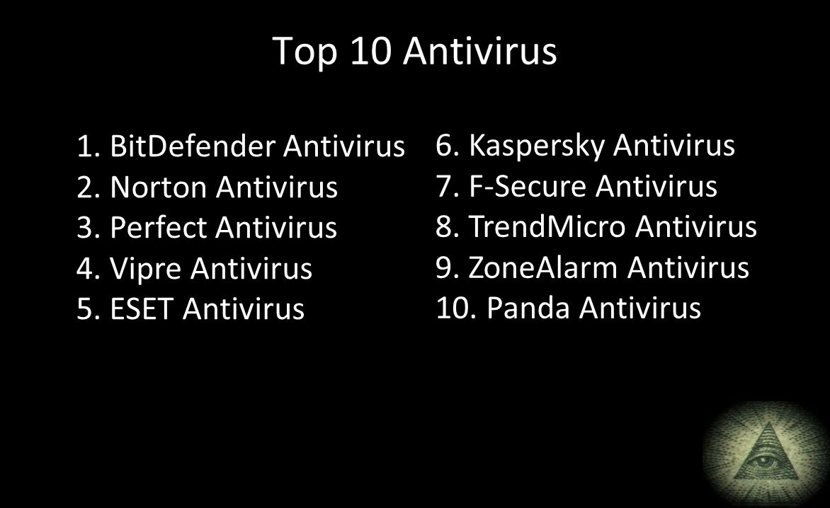 Top 10 Antivirus 1. BitDefender Antivirus 6. Kaspersky Antivirus