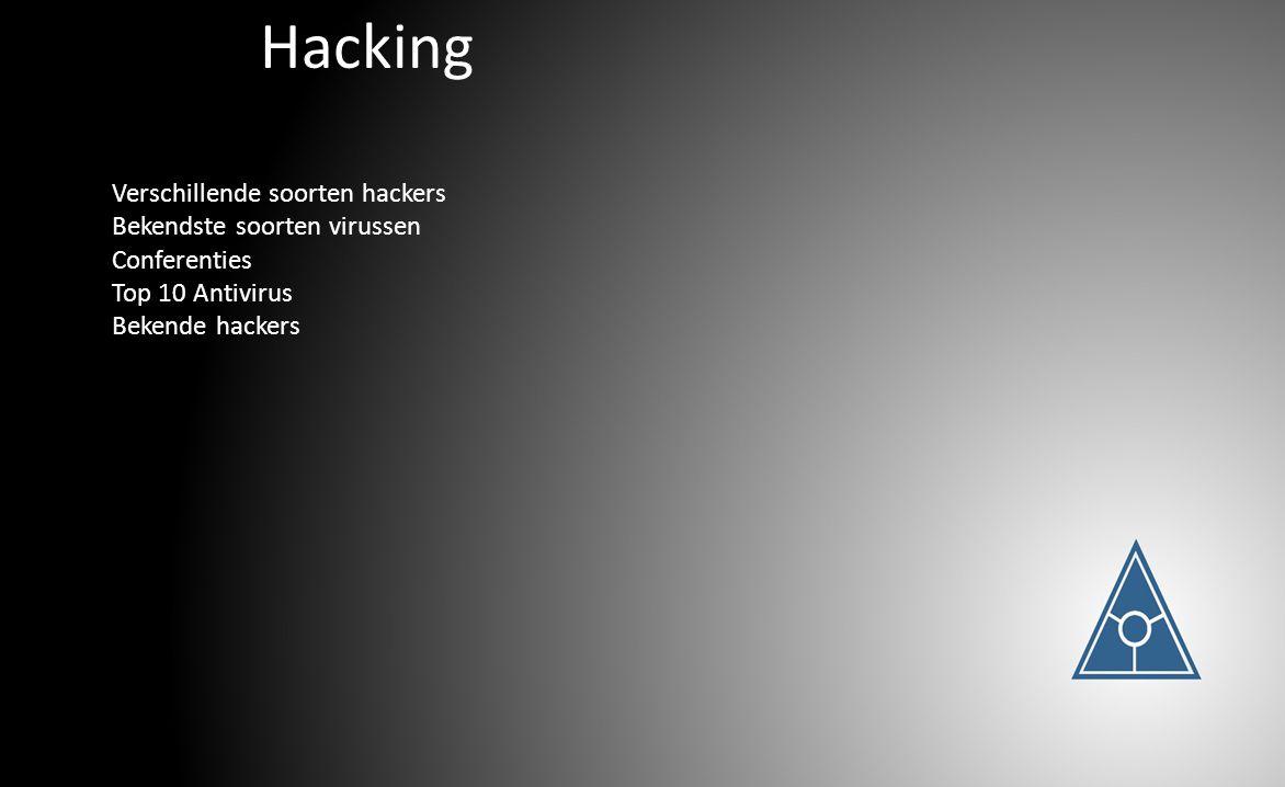 Hacking Verschillende soorten hackers Bekendste soorten virussen