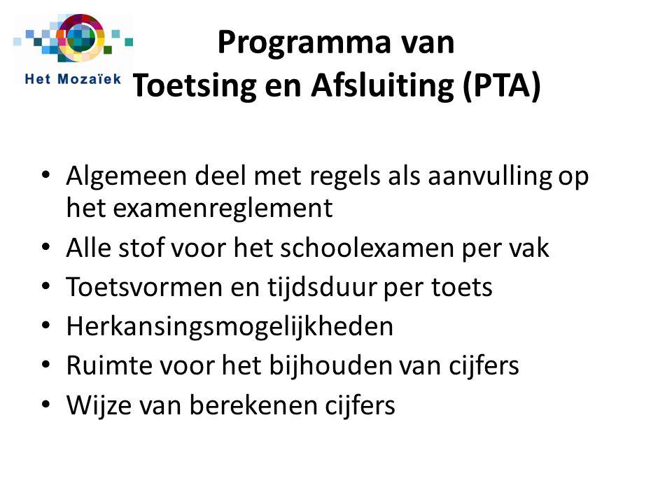 Programma van Toetsing en Afsluiting (PTA)