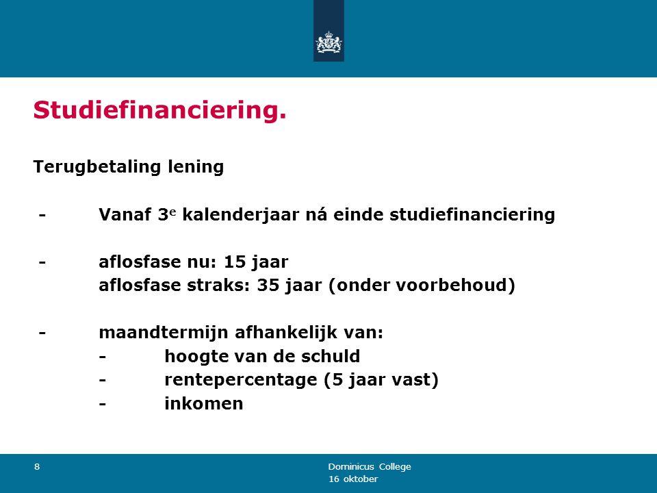 Studiefinanciering. Terugbetaling lening