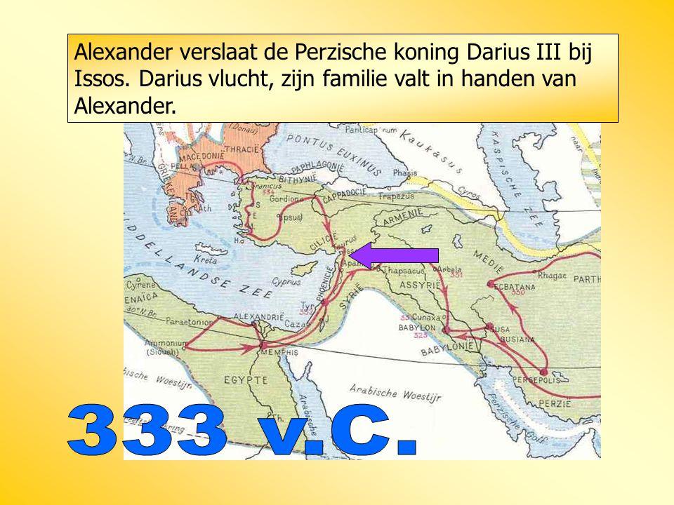 Alexander verslaat de Perzische koning Darius III bij Issos