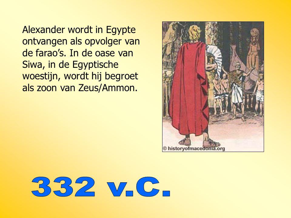 Alexander wordt in Egypte ontvangen als opvolger van de farao's