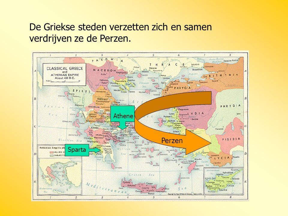 De Griekse steden verzetten zich en samen verdrijven ze de Perzen.