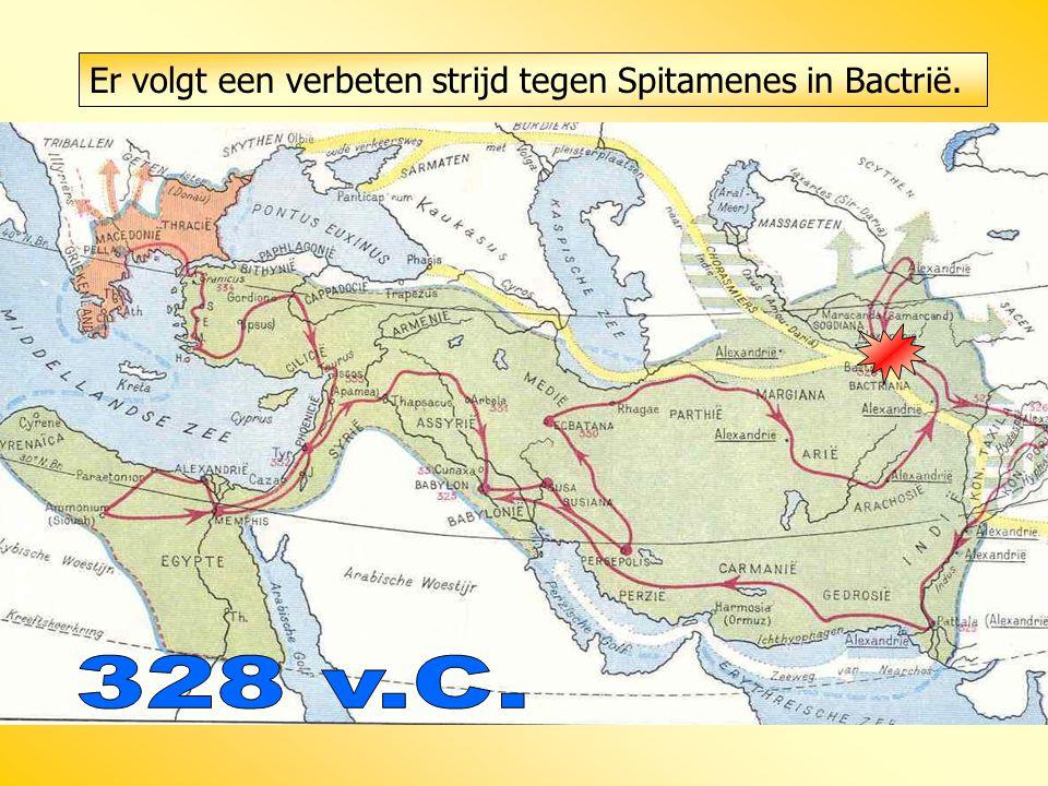 Er volgt een verbeten strijd tegen Spitamenes in Bactrië.