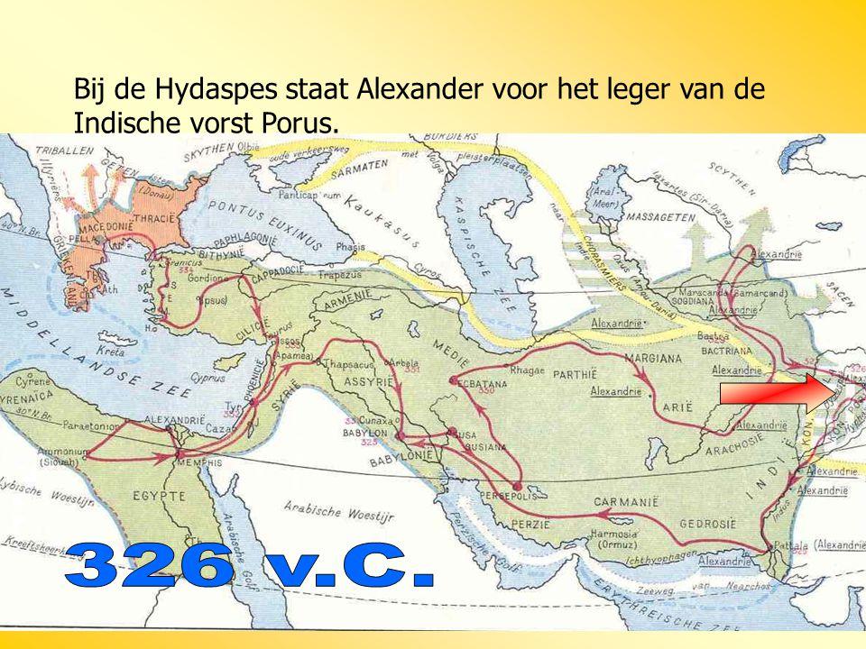 Bij de Hydaspes staat Alexander voor het leger van de Indische vorst Porus.
