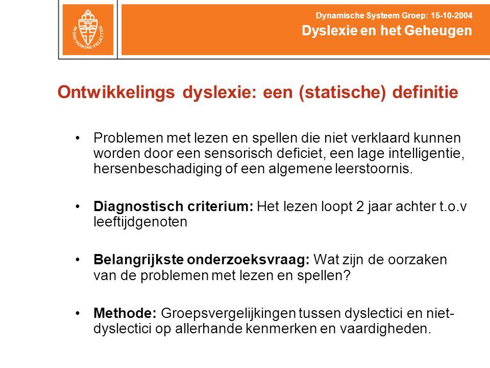 Ontwikkelings dyslexie: een (statische) definitie
