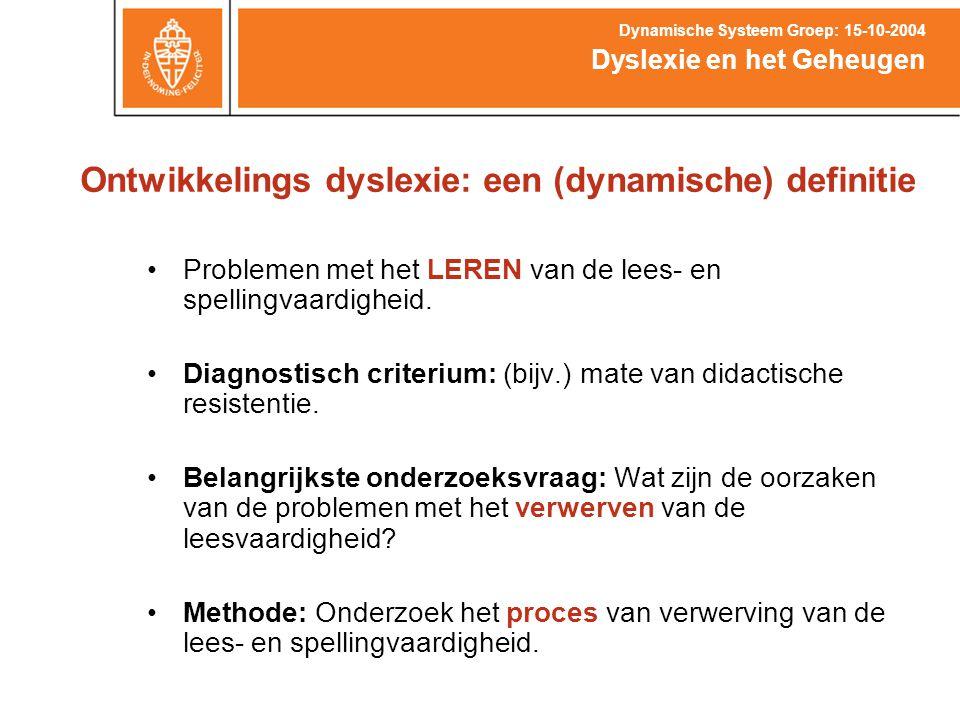 Ontwikkelings dyslexie: een (dynamische) definitie