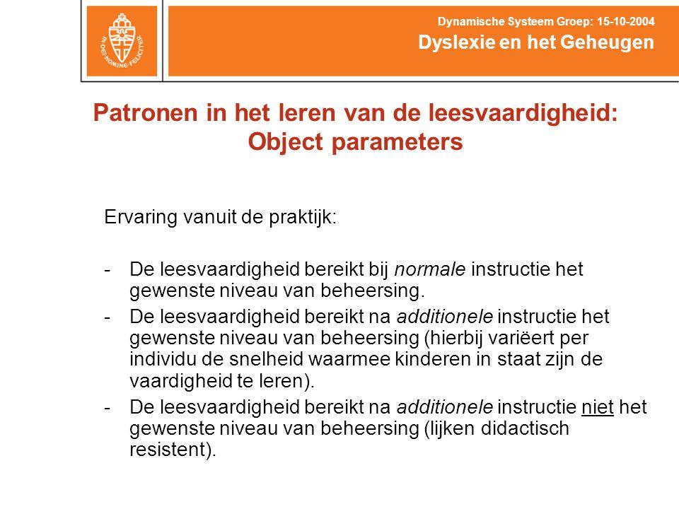Patronen in het leren van de leesvaardigheid: Object parameters