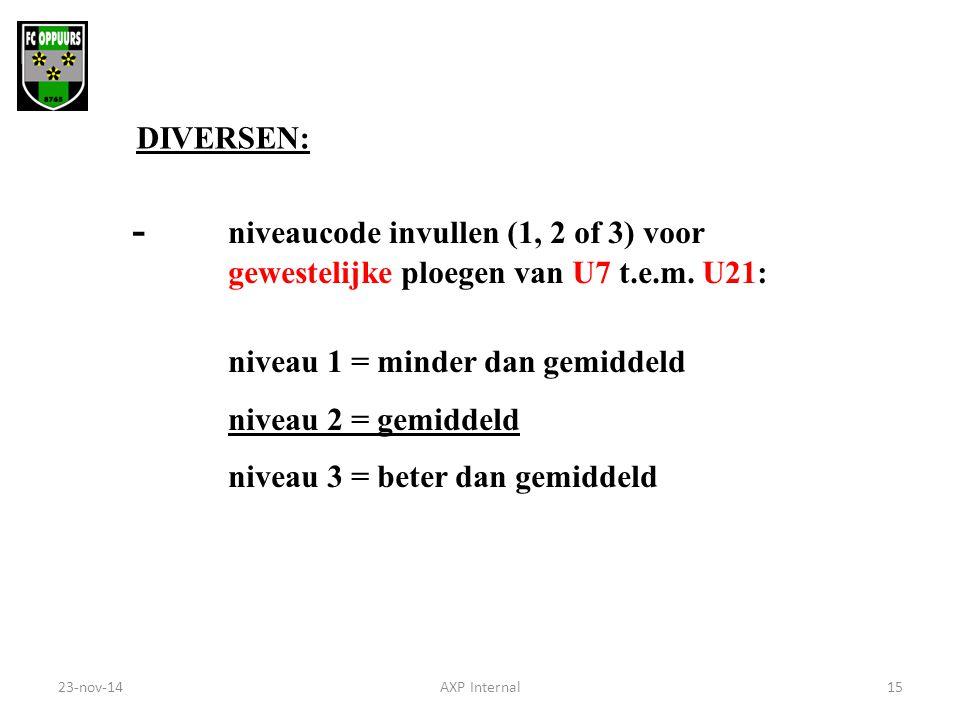 - niveaucode invullen (1, 2 of 3) voor