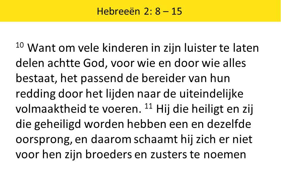Hebreeën 2: 8 – 15