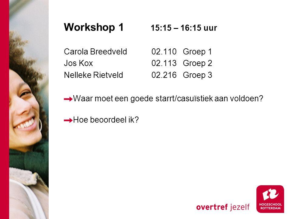 Workshop 1 15:15 – 16:15 uur Carola Breedveld 02.110 Groep 1