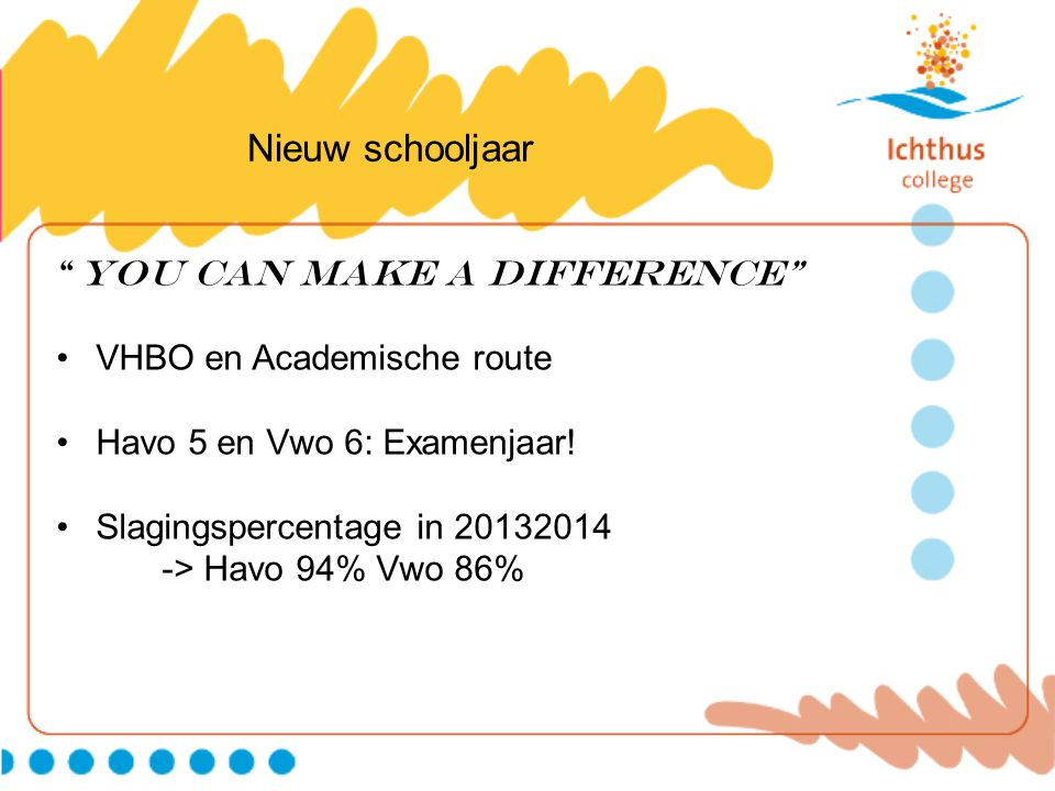 Nieuw schooljaar You can make a DIFFERENCE VHBO en Academische route