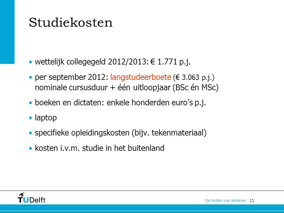 Studiekosten wettelijk collegegeld 2012/2013: € 1.771 p.j.