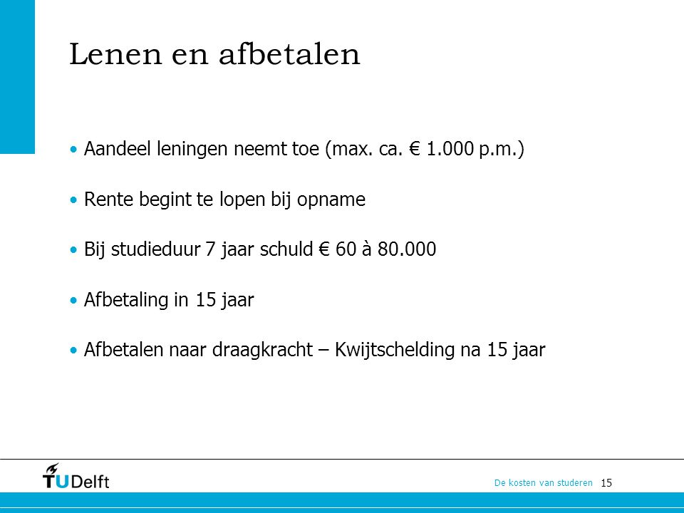Lenen en afbetalen Aandeel leningen neemt toe (max. ca. € 1.000 p.m.)