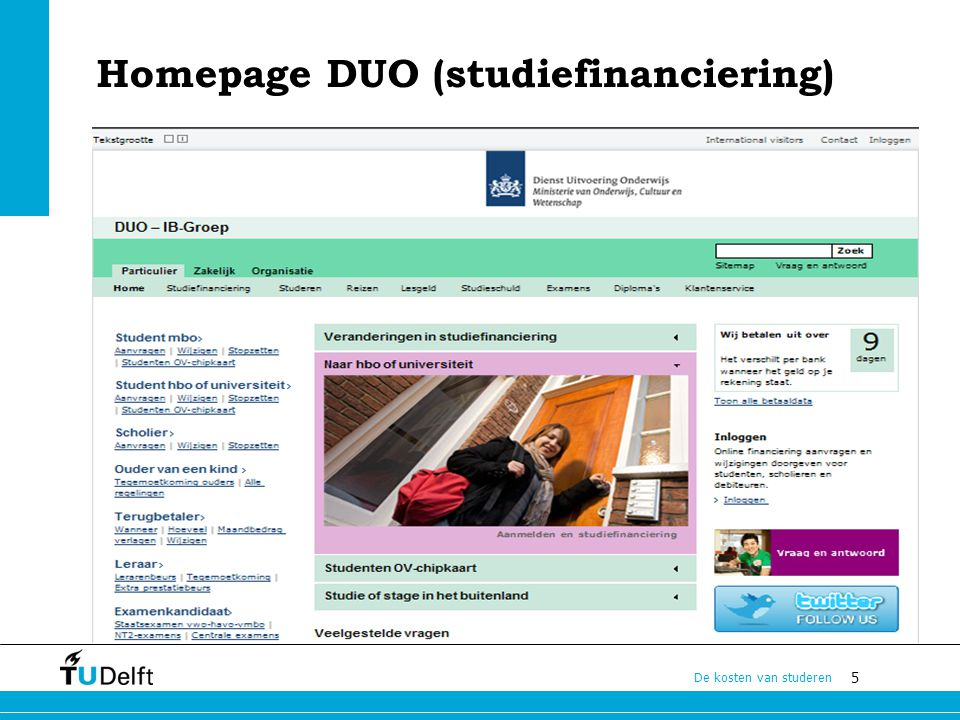 Homepage DUO (studiefinanciering)