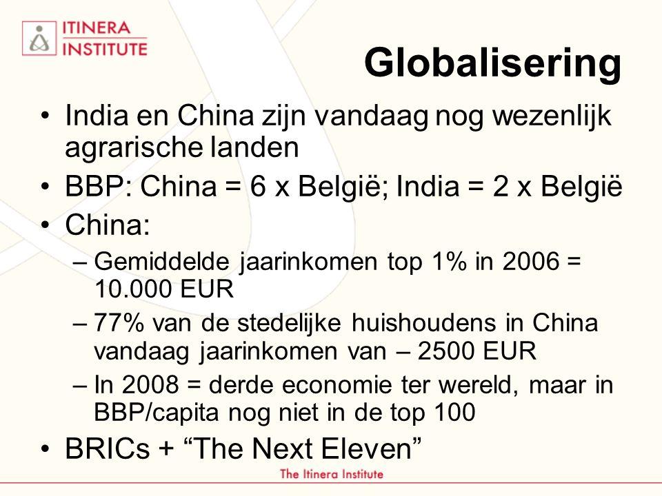 Globalisering India en China zijn vandaag nog wezenlijk agrarische landen. BBP: China = 6 x België; India = 2 x België.
