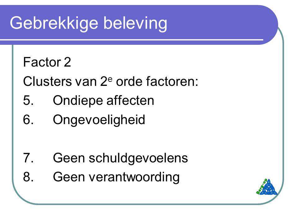 Gebrekkige beleving Factor 2 Clusters van 2e orde factoren: