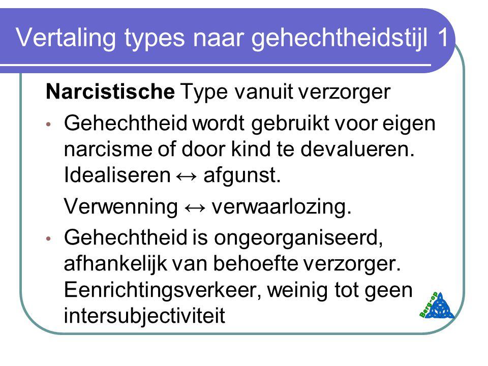 Vertaling types naar gehechtheidstijl 1