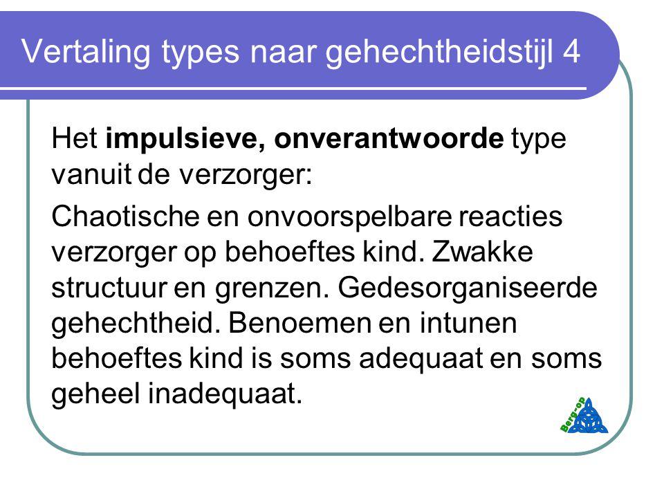 Vertaling types naar gehechtheidstijl 4